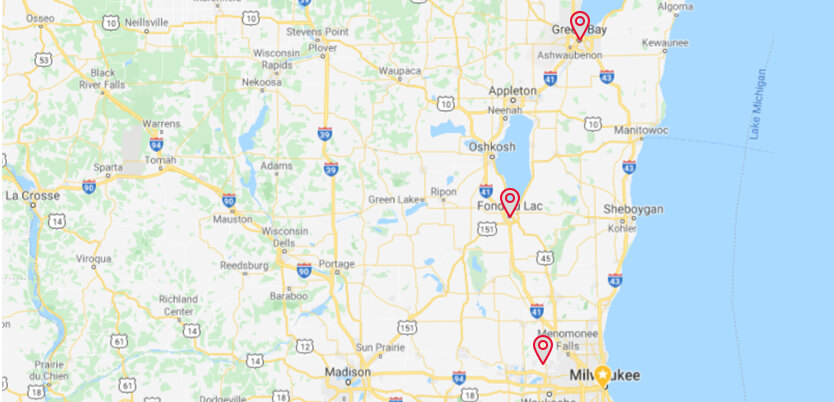 Store locations located in Fond du Lac, Madison, Milwaukee, & Green Bay
